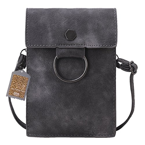 Bthdhk 6'' Stylish PU Leather Small Crossbody Shoulder Bag with Strap for Women Smartphone -- Gray (Leather Lined Mini Bag)