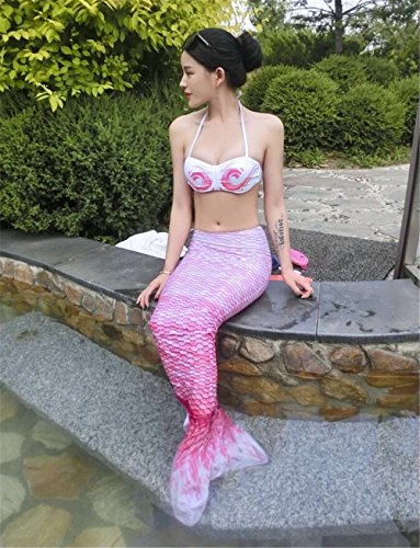 Mermaker174; Mermaid Tails Swimsuit,High Flexibility Mermaid Tails for Swimming with Bikini for Adults (Pink,M)