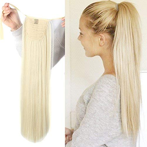 Haironline One Piece Tie Up Ponytail Clip in Hair Extensions Hairpiece Binding Pony Tail Extension for Girl Lady Woman -