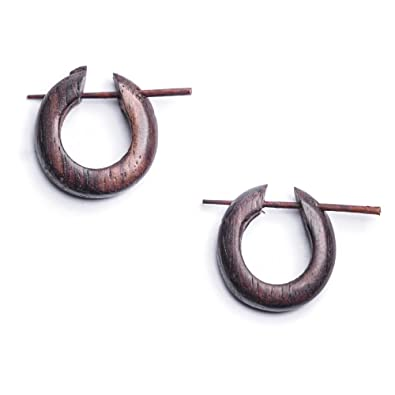 Hoops organic wood Wood Creole Stud Earrings Wood Earrings Natural black brown mAoO2jrDv