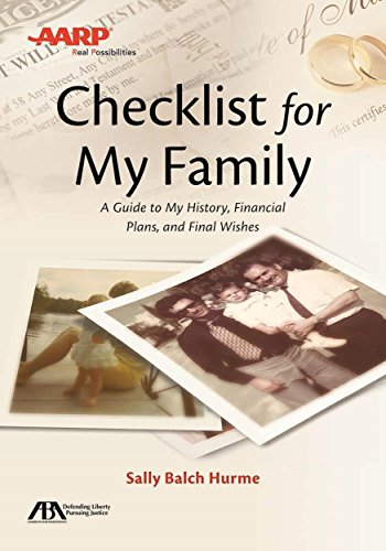 Pdf Self-Help ABA/AARP Checklist for My Family: A Guide to My History, Financial Plans and Final Wishes