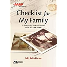 ABA / AARP Checklist for My Family: A Guide to My History, Financial Plans, and Final Wishes