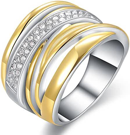 Mytys18k Gold Plated Interwined Two Color Tone Silver and Gold Crystal Design Fashion Rings