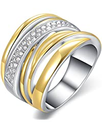 Two Tone Fashion Ring Gold and Silver Crossover CZ Statement Rings Fashion Jewelry for Women