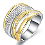 Mytys 2 Tone Gold Silver Crossover Band Ring Fashion Statement Rings