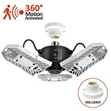 60W Motion Activated Ceiling Light for Garage, Warehouse,Workshop,Basement and Others, High Power LED Light Bulb E27 Medium Base 6000 Lumen,6000K Dayl