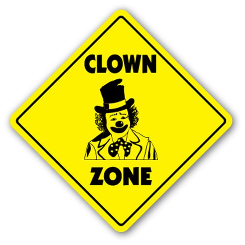 [SignJoker] CLOWN ZONE Sign xing gift novelty circus face paint shoes funny sad Wall Plaque Decoration