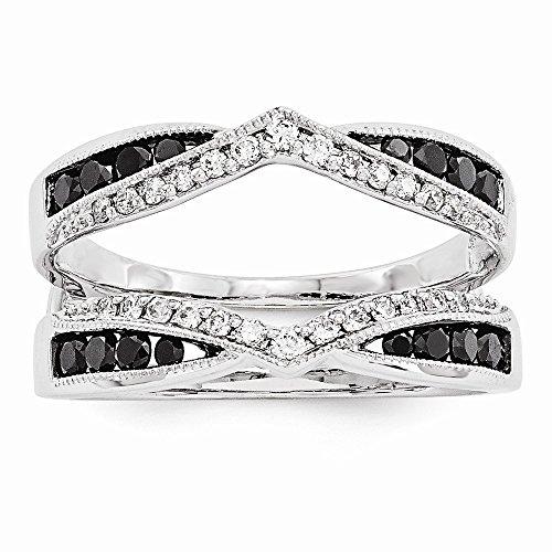 14k White Gold Black and White Diamond Guard Ring ()