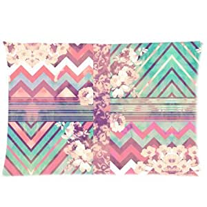 LarryToliver You deserve to have one side printing pillowcase Pink Floral Chevron Zinzag Pattern (2) size 20 X 30 inch 2 way cloth best pillow cases
