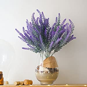 DiDaDi 4 Pcs Artificial Flowers Flocked Lavender Bouquet Romantic Fake Lavender Bunch in Purple Artificial Plant for Home Wedding Garden Decor 5