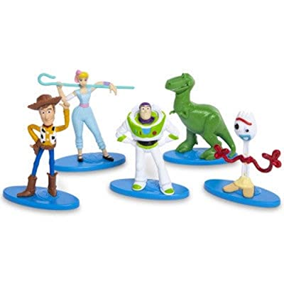 Disney Pixar Toy Story 4 Mini Figures Cake Toppers Set of 5 - Buzz Woody Bo Peep Rex Forky: Grocery & Gourmet Food