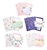 IMagicoo 32 Lovely Cute Writing Stationery Paper Letter Set with 16 Envelope + 1 Sheet Label Seal Sticker (Style-6(8.3x5.8))