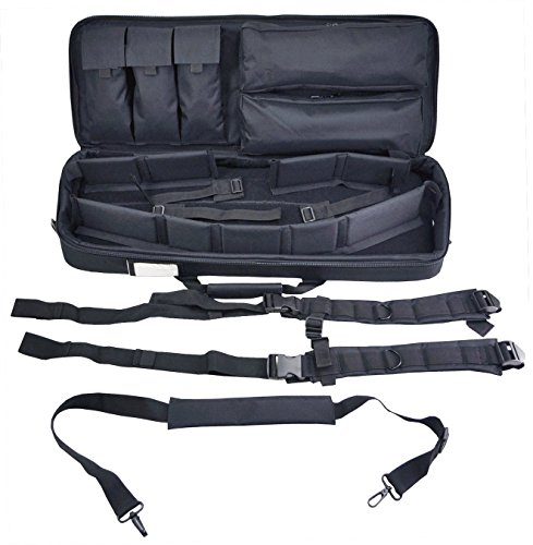 Explorer Mojo Tactical Rifle Case - AR15 Case with Pockets for Magazines, Pistols, Rifle Accessories, Police & Military Gear - Backpack or Shoulder Gun Carrying Bag for Paintball, Airsoft, More, Black ()