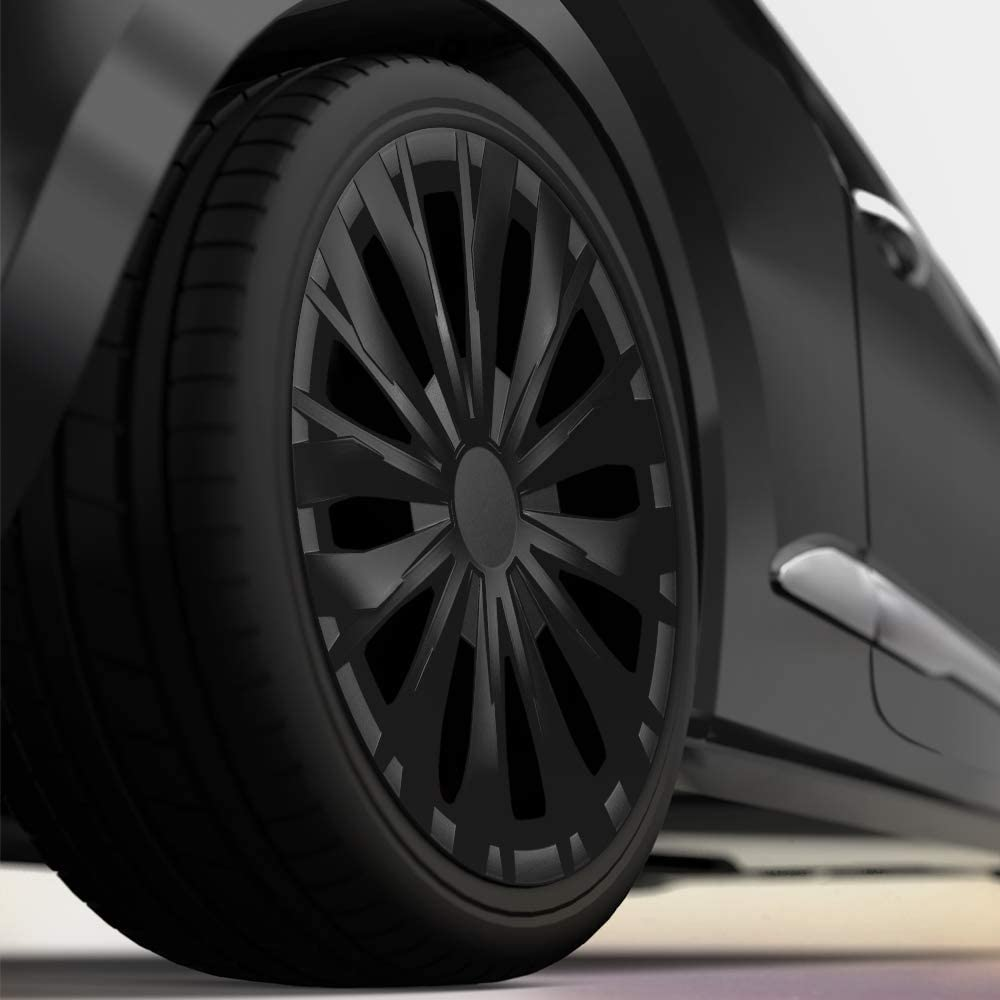 CM DESIGN 4 x 14 Zoll Optic schwarz Auto-Radkappen Radzierblenden