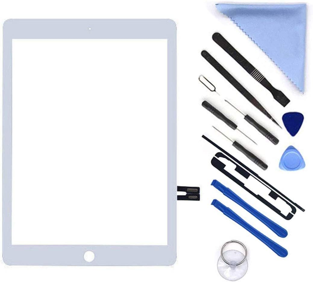 "White Digitizer Repair Kit for iPad 9.7"" 2018 iPad 6 6th Gen A1893 A1954 Touch Screen Digitizer Replacement (Without Home Button,Not Include LCD) +Pre-Installed Adhesive + Tools(White)"