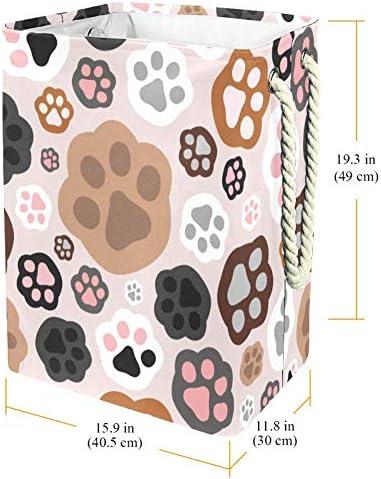 Tizorax Panier à linge en PVC imperméable et pliable Motif pattes de chat