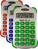 Victor 910 8 Digit Handheld Calculator with Cover in Three Bright Colors: Blue, Red, or Green
