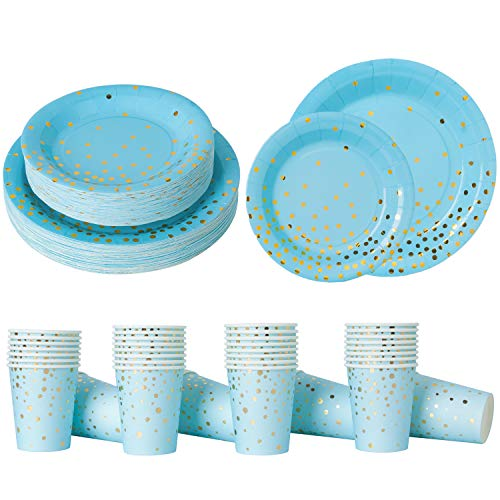- Blue and Gold Party Supplies Paper Plates and Cups Serves 50 Guests;Blue with Gold Confetti Dinnerware 50 Dinner Plates 50 Dessert Plates and 50 9oz Cups for Baby Shower Birthday Bridal Shower Wedding