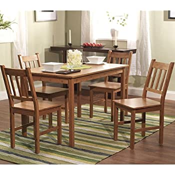 Amazon.com - 5 Piece Dining Kitchen Table and Chair Set in Solid Eco ...