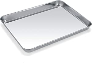 Baking Sheet, Zacfton Cookie Sheet Stainless Steel Toaster Oven Tray Pan Rectangle Size 9 x 7 x 1 inch, Non Toxic & Healthy,Superior Mirror Finish & Easy Clean, Dishwasher Safe