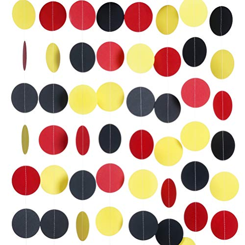 MOWO Paper Garland Circle Dots Hanging Decor, 2.5'' in Diameter,10-feet (Black/red/Yellow, 2pc)