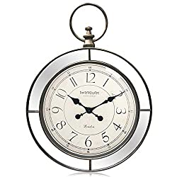 Swizmiuart Vintage Wall Clocks Battery Operated Non Ticking 24 inch,Silent Wall Clock Quartz,Glass Clock Face,Round Mirror Clocks Wall Decor,Large Wall Clock Decorative Living room,Home,Bedroom,Office