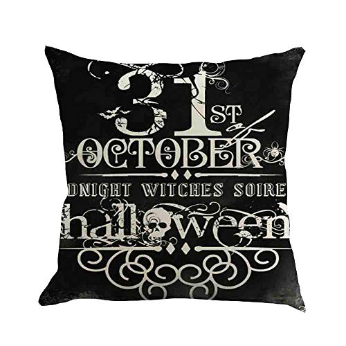hrow Pillow Case, Autumn Thanksgiving Pillow Covers Square 18x18 inch, Halloween Cotton Linen Pillowcases for Car Sofa Bed Couch Home Decor ()