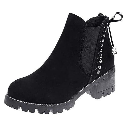 ❤ Tefamore Botines Mujer Invierno Zapatos Mujer Tacón Ancho Gamuza Botas de Mujer Ankle Botines Cortos Botín Elegantes Martin Botas de Nieve: Amazon.es: ...