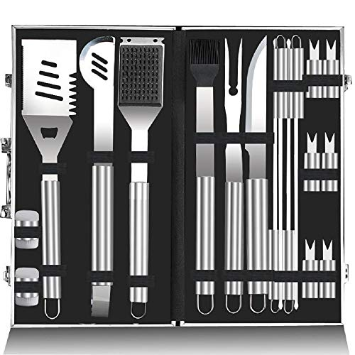 ZHANGZHIYUA 18pc Stainless Steel BBQ Grill Tool Set for Men Women with Gift Box - Complete Outdoor Barbecue Grilling Accessories Kit in Aluminum Storage Case