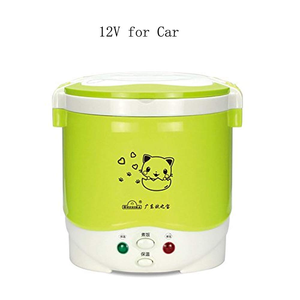 1Cup Mini Rice Cooker Steamer 12V/24V For Car/Truck, Cooking For Soup Porridge and Rice, Cooking Heating and Keeping Warm Function, Can be Used As a Electric Lunch Box (12v green)