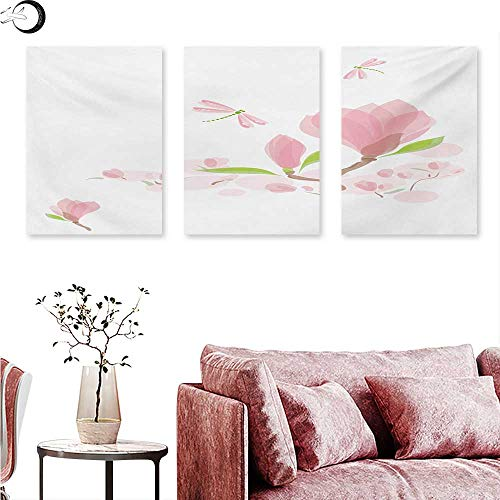 Dragonfly Canvas Wall Art Magnolia Branches and Leaves in Soft Tones Romance in Spring Concept Triptych Photo Frame Pale Pink Lime Green W 16