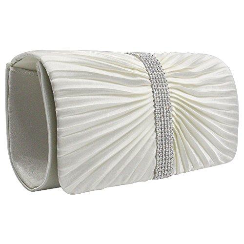 Ladies Ivory Wocharm Party Bag Womens Diamante Satin Evening TM Shoulder Purse Handbags Wedding Clutch 5ZnwFZrgOx