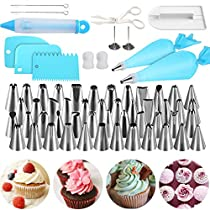 NexGadget Cake Decorating Supplies Kit 62pcs Set - 48 Stainless Steel Icing Frosting Tips - 2 Pastry Bags, 1Icing Smoother Set,2 Couplers, 2 Flower Nails, 1 Decorating Pen,1 Scraper,2 Wash Brush,1 Flower Lifter for Cake Decoration Baking Tools