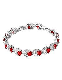 "18K Gold/Platinum Plated Round Cut Cubic Zirconia Tennis Bracelet, 8"""