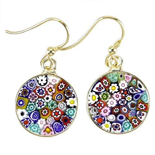Murano Dangle (GlassOfVenice Murano Glass Millefiori Round Dangle Earrings - Gold)
