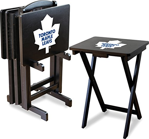 Imperial Officially Licensed NHL Merchandise: Foldable Wood TV Tray Table Set with Stand, Toronto Maple Leafs