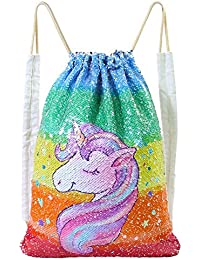 Unicorn Bag Reversible Sequin Drawstring Bag Sparkly Gym Dance Backpack