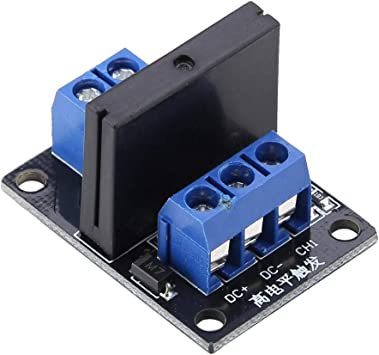 Solid State Relay Module Relay Board 1-Channel High Level Trigger Solid State Relay Module 250VAC 2A Output with Fuse 5V//12V 5V