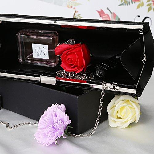 Purse Black Evening Women Clutch Crystal Bag Handbags Evening Fashion Rhinestone Envelope PU TwUqgU