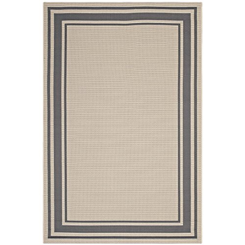 Modway R-1140D-810 Rim Area Rug Solid Border Borderline 8×10 Indoor Outdoor, 8′ x 10′, Gray Beige