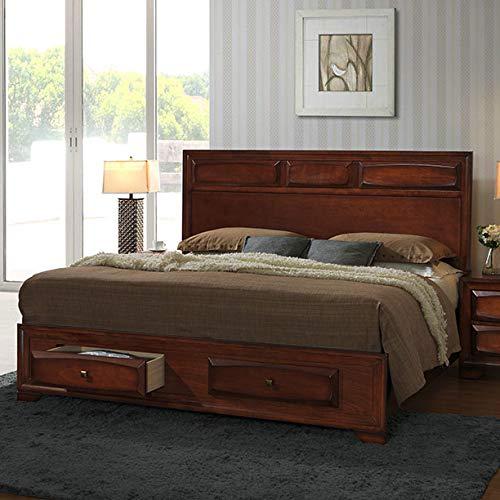 - Roundhill Furniture B139Q Oakland 139 Wood Platform Bed, Queen, Antique Oak Finish