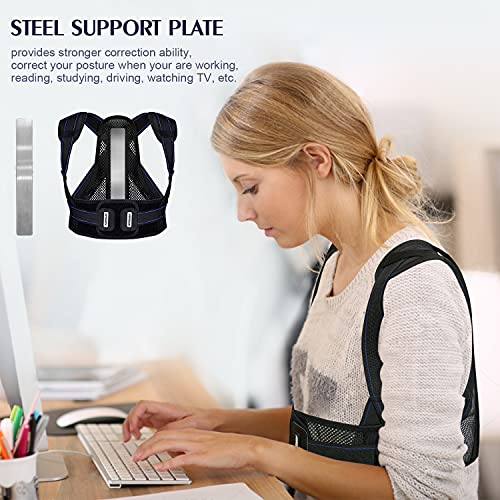 oneday Back Brace Posture Corrector for Men and Women with Replaceable Support Plates, Adjustable and Breathable Back Support for Back, Neck and Shoulder Pain Relief, Black