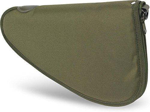 Abschließbare, weich gepolsterte Pistolentasche mit umlaufendem Reißverschluss und Abschließvorrichtung Farbe Oliv Größe L