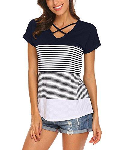 SUNNYME Women's Striped T Shirts Tees Short Sleeve Criss Cross V Neck Slim Fit Tunics Tops Navy L