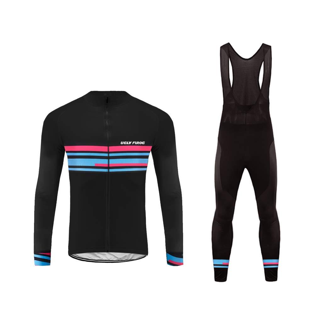 Uglyfrog Bike Wear Radtrikot Fahrradbekleidung Set Kurzarm/Langarm Winddicht Herren Thermische Fleece mit 3D Polster Hosen Anzüge