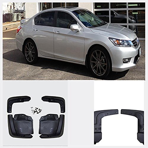 VioGi New Set of 4 Front & Rear Mud Flaps Guards Splash Flares+Screws+Clamps Without Flares Rear For 12-15 Honda Civic Sedan by VioGi