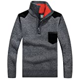November's Chopin Men's Long Sleeve Half Zip Pullover Knitted Sweater Slim Fit