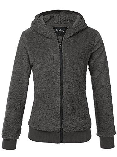 JayJay Women Active Ultra Soft Fur Fleece Rib Waist Long Sleeve Jersey Jacket,Darkgray,M