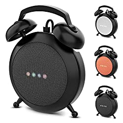 Google Home Mini Stand Holder, Retro Alarm Clock Stand Mount Base Protective Case Compatible with Google Home Mini and Nest Mini(Black)