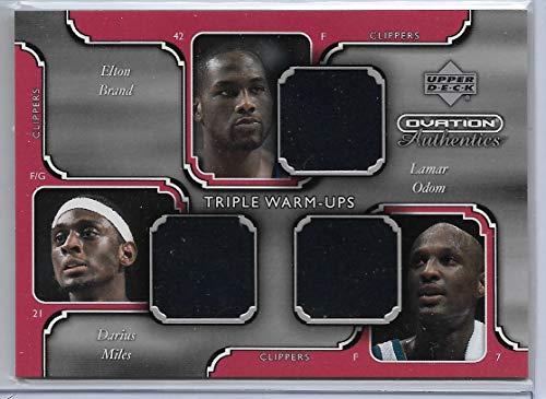2002-03 UD Ovation Basketball Elton Brand-Darius Miles-Lamar Odum Triple Warm-Ups Card # DM/EB/LO